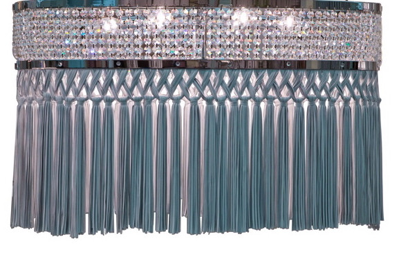 BARBARELLA LEATHER FRINGE OVAL CHANDELIER