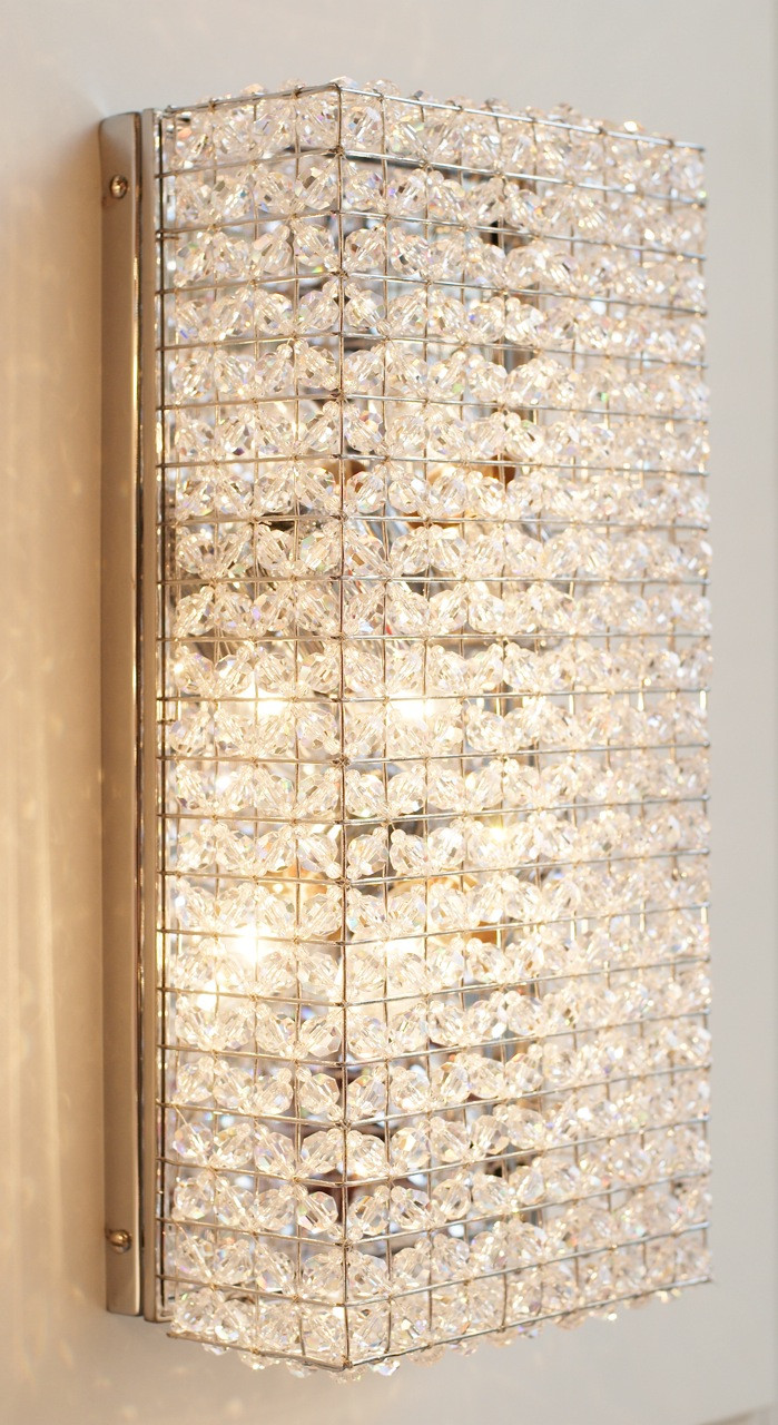 BEADED CRYSTAL RECTANGULAR WALL LIGHT