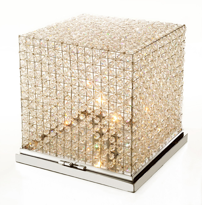 BEADED CRYSTAL CUBE FLOOR/TABLE LAMP
