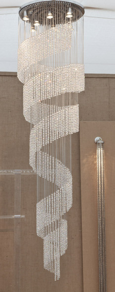 CRYSTAL BEADED SPIRAL LIGHT SCULPTURE