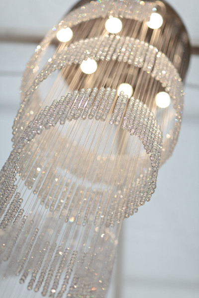 CRYSTAL BEADED SPIRAL LIGHT SCULPTURE DETAIL