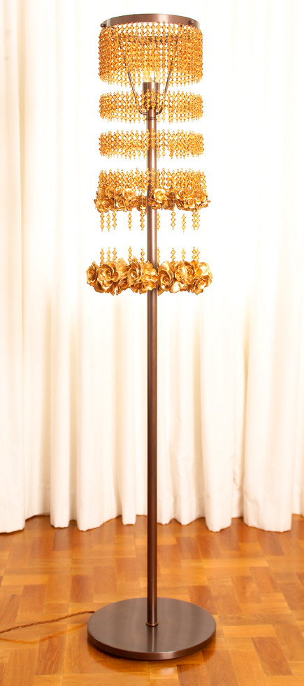 Golden rose floor lamp floor lamps lighting for Rose gold floor lamp uk