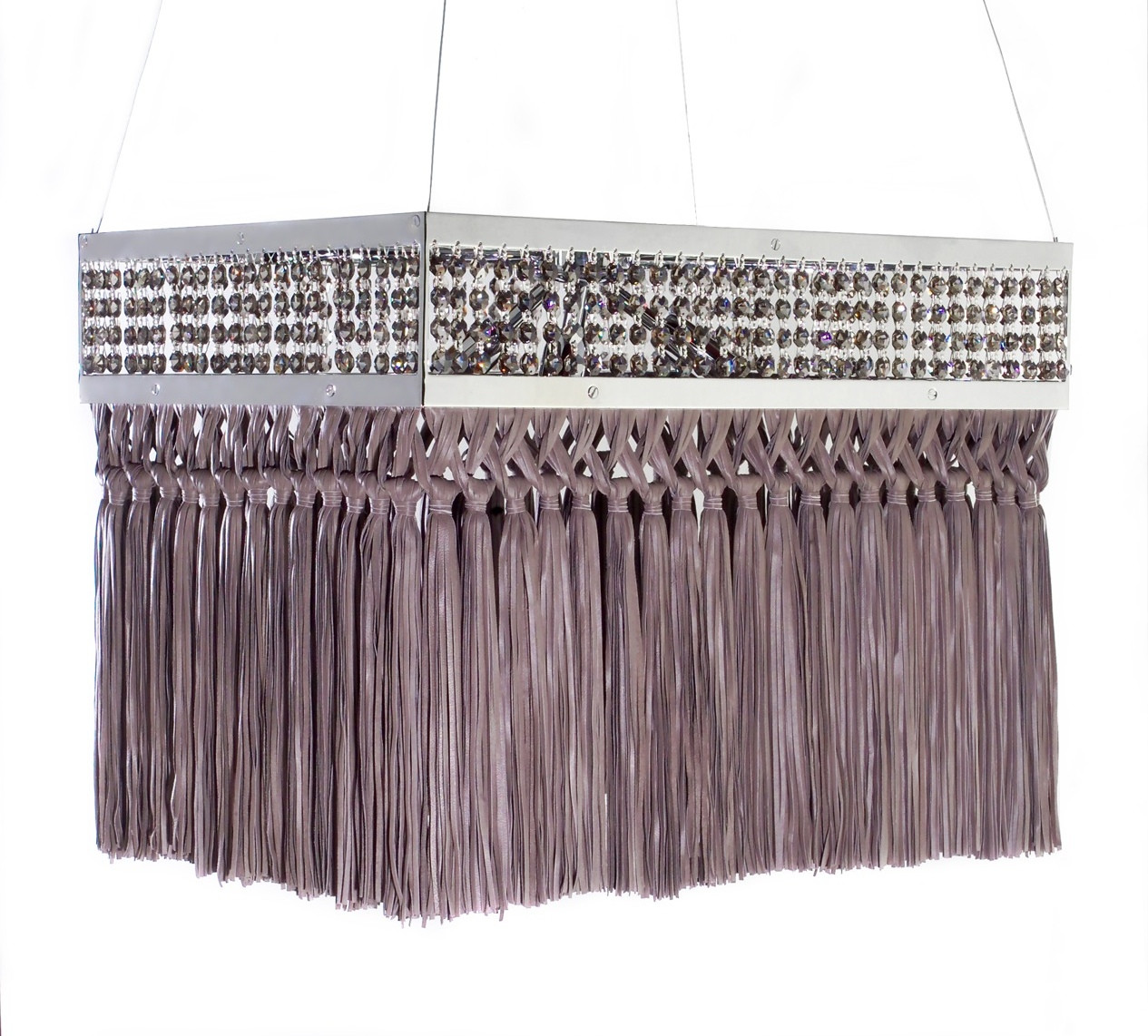 BARBARELLA SMOKED GREY RECTANGULAR CHANDELIER DETAIL