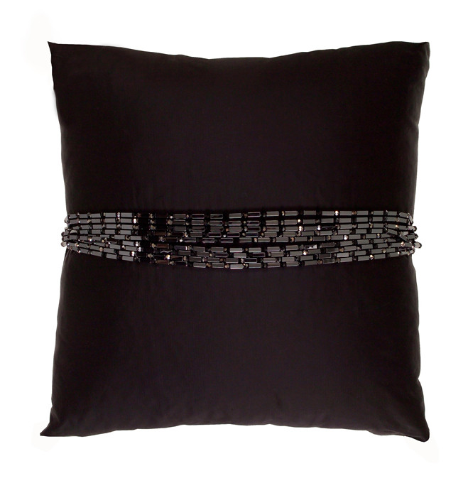 HAEMATITE AND JET CRYSTAL BAND CUSHION