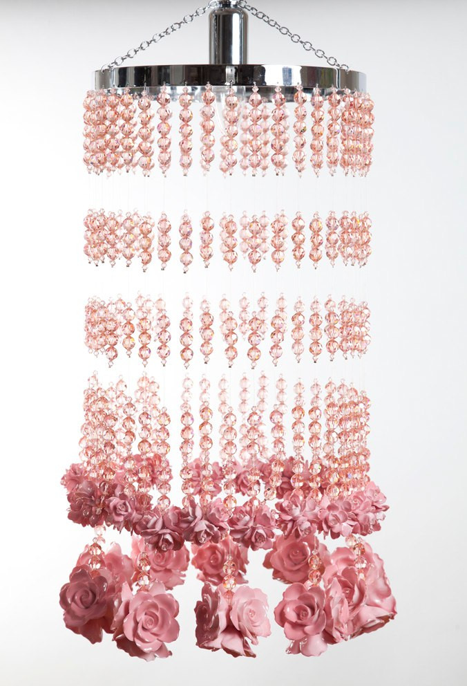 PINK RAINDROPS AND ROSES CHANDELIER
