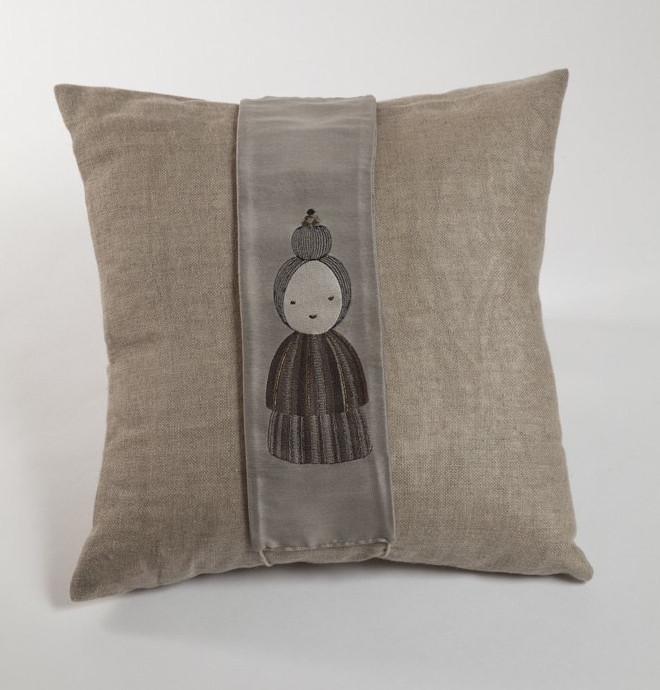 HESSIAN AND SILK JACQUARD KOKESHI CUSHION