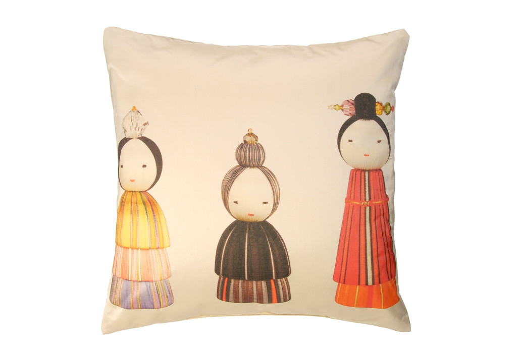 KOKESHI PRINTED SILK CUSHION