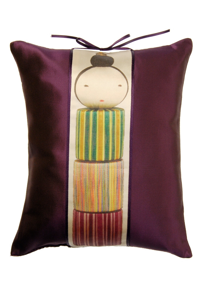 KOKESHI SILK CUSHION WITH PRINTED BAND DETAIL