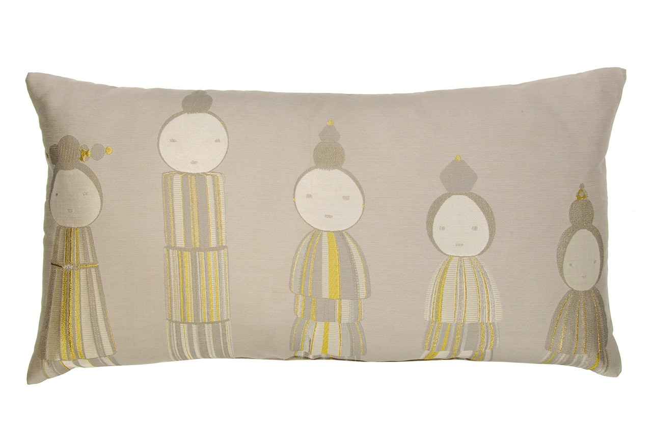 KOKESHI SILK JACQUARD PILLOW CUSHION