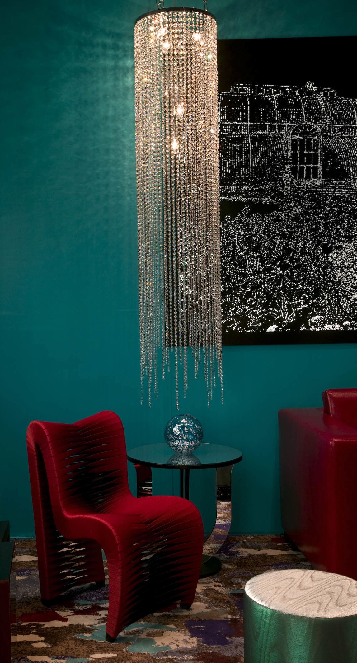 LONG CLEAR CRYSTAL CIRCULAR CHANDELIER