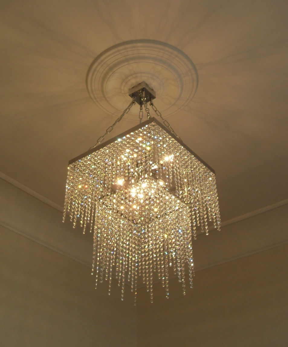 BESPOKE DOUBLE TIER SQUARE CRYSTAL CHANDELIER