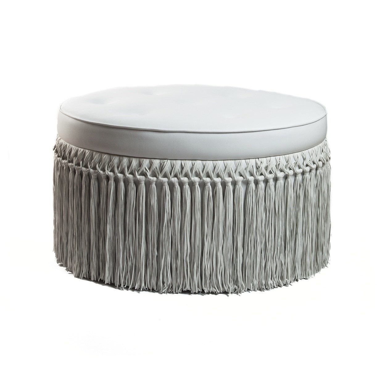 BARBARELLA LUXE LEATHER FRINGED OTTOMAN
